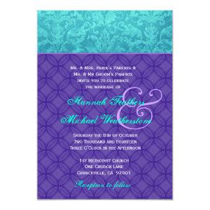 Royal Purple and Aqua Blue Damask Wedding G500 5x7 Paper Invitation Card