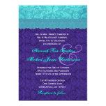 Royal Purple and Aqua Blue Damask Wedding G500A Personalized Invites