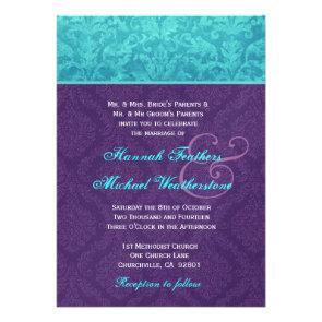Royal Purple and Aqua Blue Damask Wedding Metallic Custom Invite