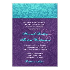 Royal Purple and Aqua Blue Damask Wedding Metallic 5x7 Paper Invitation Card
