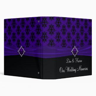 Royal Purple and Black Damask Keepsake 3 Ring Binder