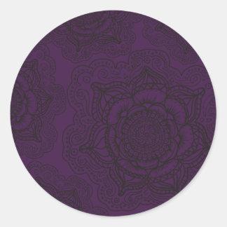 Royal Purple and Black Mandala Pattern Classic Round Sticker