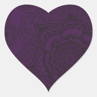Royal Purple and Black Mandala Pattern Heart Sticker