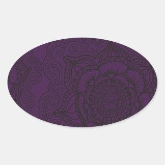 Royal Purple and Black Mandala Pattern Oval Sticker