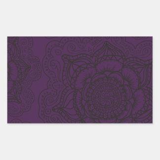 Royal Purple and Black Mandala Pattern Rectangular Sticker