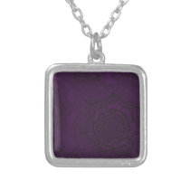 Royal Purple and Black Mandala Pattern Silver Plated Necklace