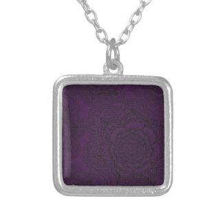 Royal Purple and Black Mandala Pattern Silver Plated Necklace