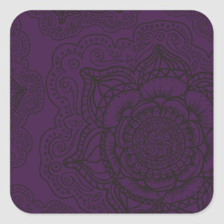 Royal Purple and Black Mandala Pattern Square Sticker