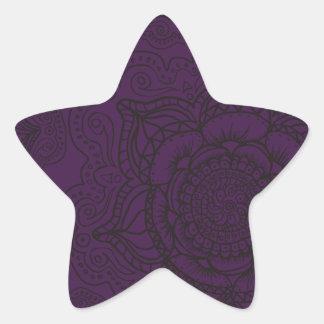 Royal Purple and Black Mandala Pattern Star Sticker