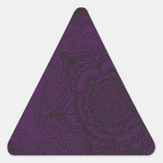 Royal Purple and Black Mandala Pattern Triangle Sticker
