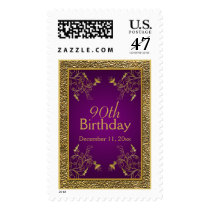 Royal Purple and Gold 90th Birthday Postage