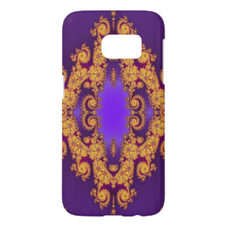 Royal Purple and Gold Abstract Swirls Samsung Galaxy S7 Case