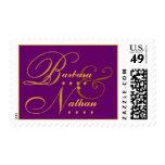 Royal Purple and Gold Bride & Groom Wedding Stamp
