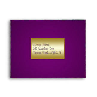 Royal Purple and Gold Envelope for RSVP Cards
