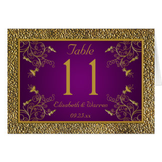 Royal Purple and Gold Floral Table Number Card