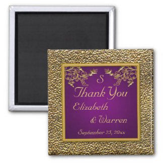 Royal Purple and Gold Floral Wedding Favor Magnet