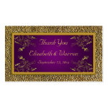 Royal Purple and Gold Floral Wedding Favor Tag Double-Sided Standard Business Cards (Pack Of 100)