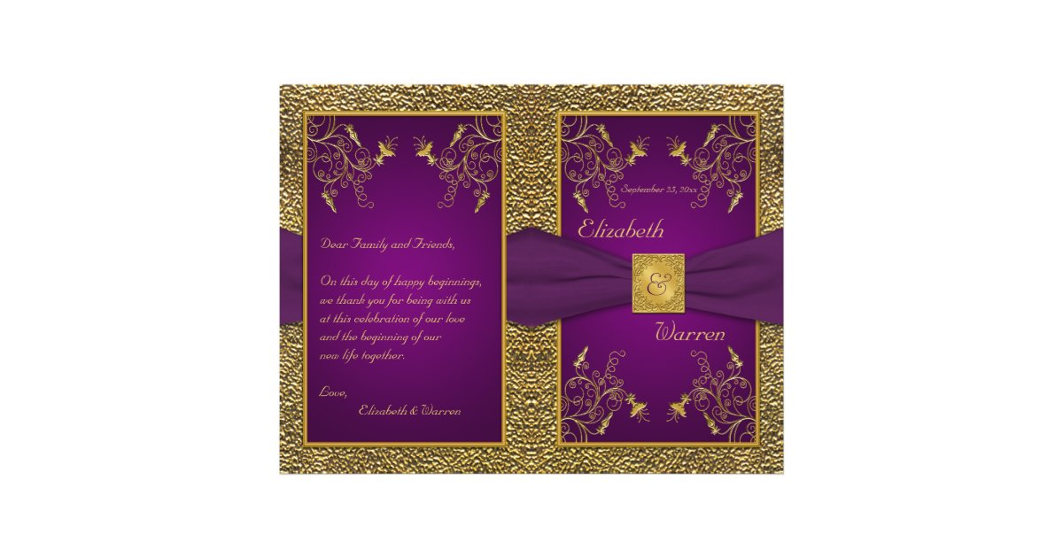 royal purple and gold medallion wedding program