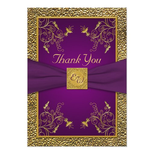 Royal Purple and Gold Monogram Thank You Card