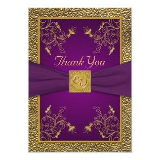 Royal Purple and Gold Monogram Thank You Card Announcement