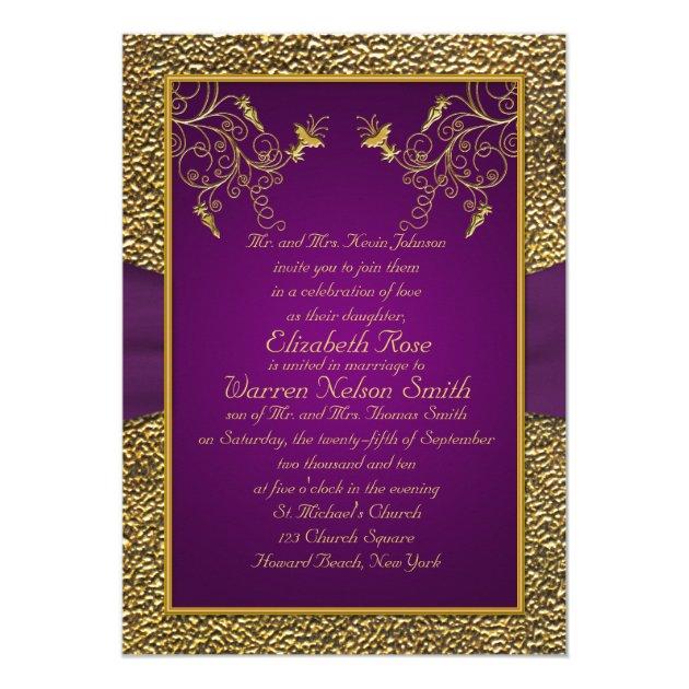 Royal Purple and Gold Monogram Wedding Invitation | Zazzle