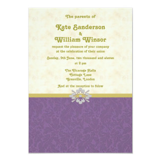 royal purple and gold wedding invitation card