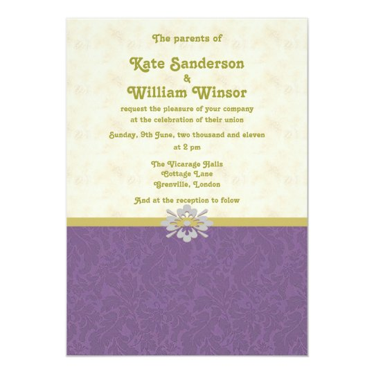 Gold And Purple Wedding Invitations: Royal Purple And Gold Wedding Invitation Card