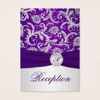 Royal Purple and Silver Damask Enclosure Card