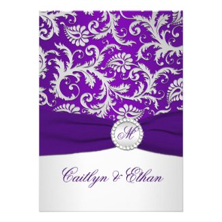 Royal Purple and Silver Damask with FAUX Ribbon Custom Invites