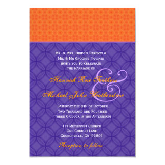 Royal Purple and Tangerine Damask Wedding G501 5x7 Paper Invitation Card