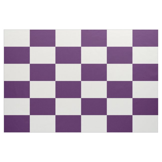 Royal Purple and White Checkered Rectangles Fabric