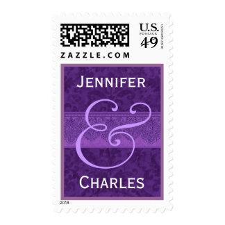 Royal Purple and White Damask Ribbon Wedding Stamp