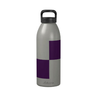Royal Purple and White Rectangles Drinking Bottles