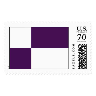 Royal Purple and White Rectangles – Large Postage