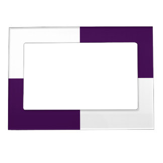 Royal Purple and White Rectangles Magnetic Photo Frame
