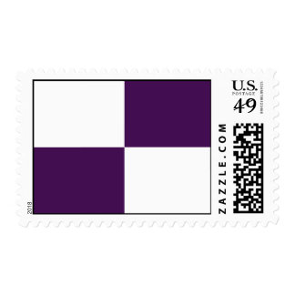 Royal Purple and White Rectangles – Medium Postage Stamp