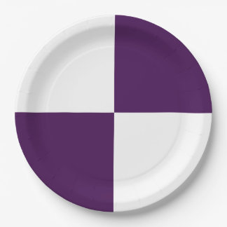 Royal Purple and White Rectangles 9 Inch Paper Plate