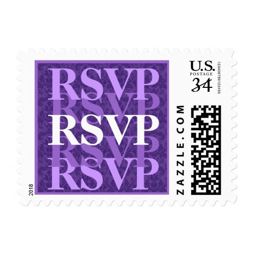 Royal Purple and White RSVP Modern Wedding W11 Stamps