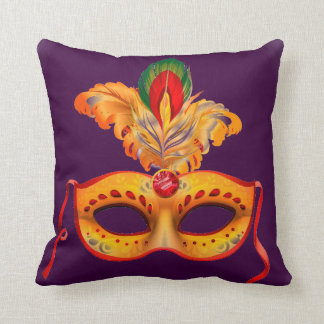 Royal Purple and yellow feather Masquerade mask Throw Pillow