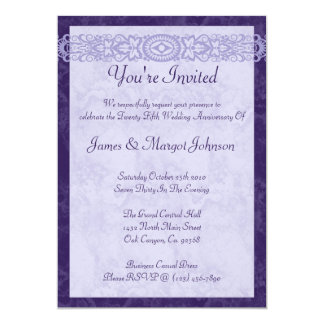 "Royal Purple Anniversary Party Invitation 5"" X 7"" Invitation Card"