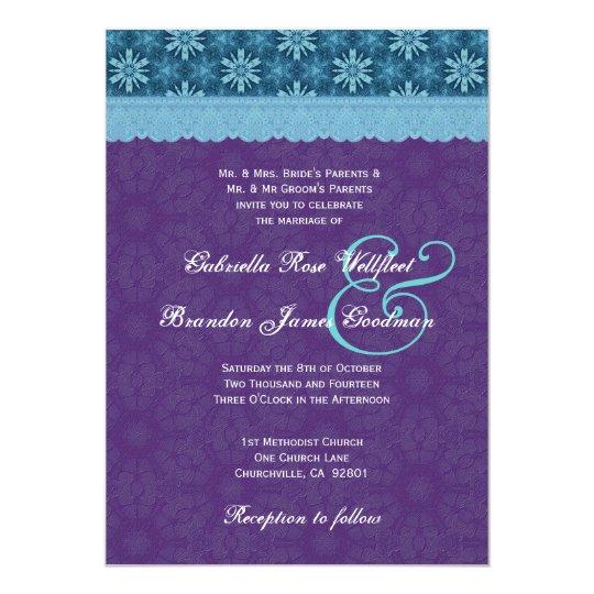 Royal Purple Aqua Blue Lace Wedding V8 Card