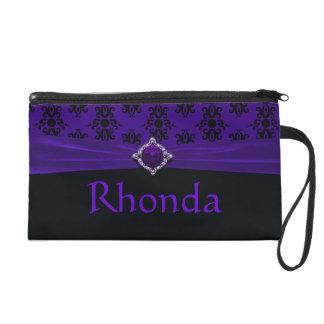 Royal Purple & Black Damask Button Gem Wristlet Clutch