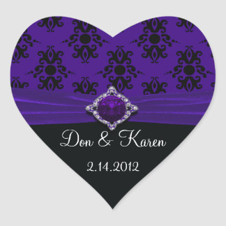 Royal Purple & Black Damask Party Heart Sticker
