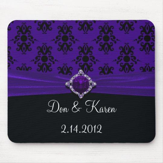 Royal Purple & Black Damask PC Mouse Pad