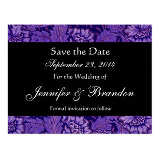 Royal Purple & Black Damask Save The Date Postcard