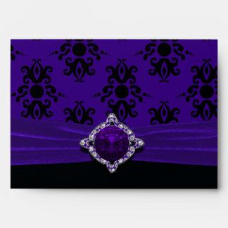 Royal Purple & Black Damask Size A7 Envelope