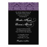 "Royal Purple Black White Damask Wedding Invitation 5"" X 7"" Invitation Card"