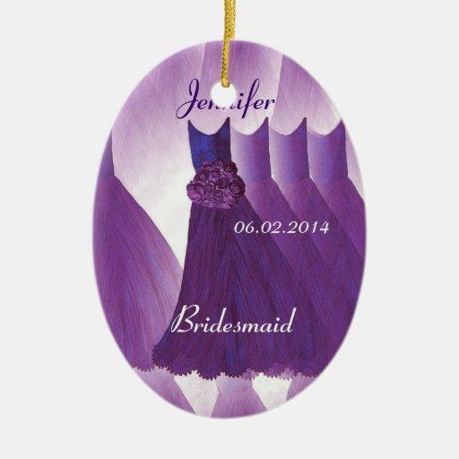 ROYAL PURPLE Bridesmaid Thank You Wedding Double-Sided Oval Ceramic Christmas Ornament