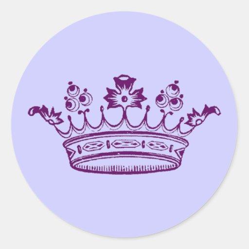 foto de Royal Purple Crown Classic Round Sticker Zazzle