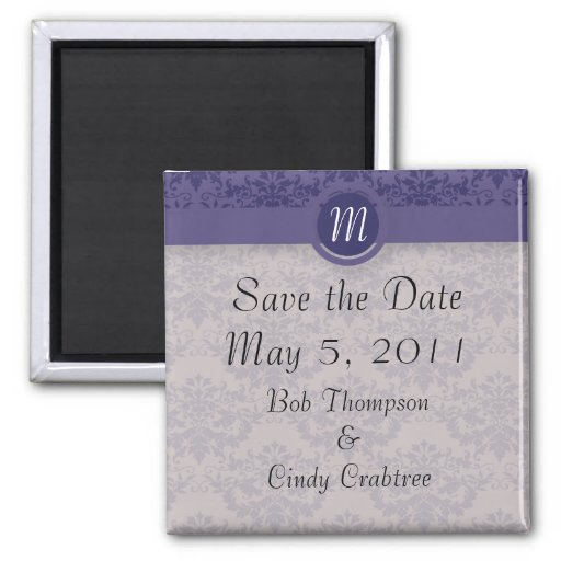 Royal Purple Damask Wedding 2 Inch Square Magnet